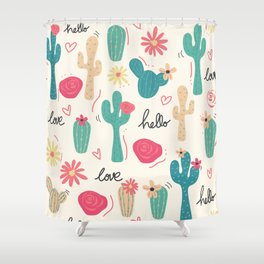 Cute colorful desert cacti flowers pattern Shower Curtain