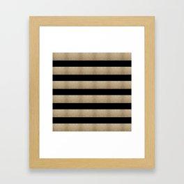 preppy contemporary minimalist great gatsby champagne black gold stripes Framed Art Print