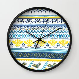Sampler 2- in Navy, Yellow and Turquoise Wall Clock