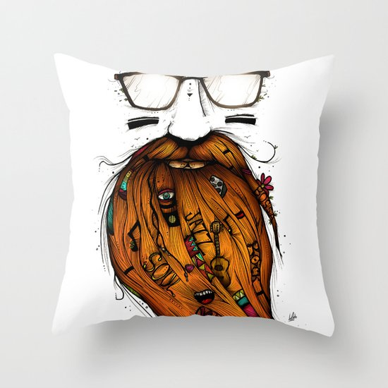 Beard Me Some Music (Color Version) Throw Pillow