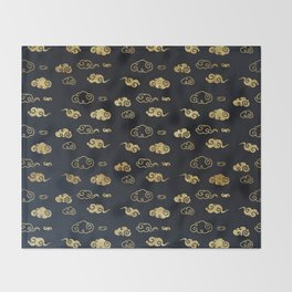 Black and Gold Asian Style Cloud Pattern Throw Blanket