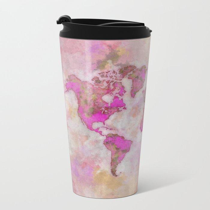 World Map Violet Metal Travel Mug