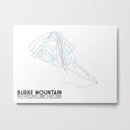 Burke Mountain, VT - Minimalist Trail Art Metal Print