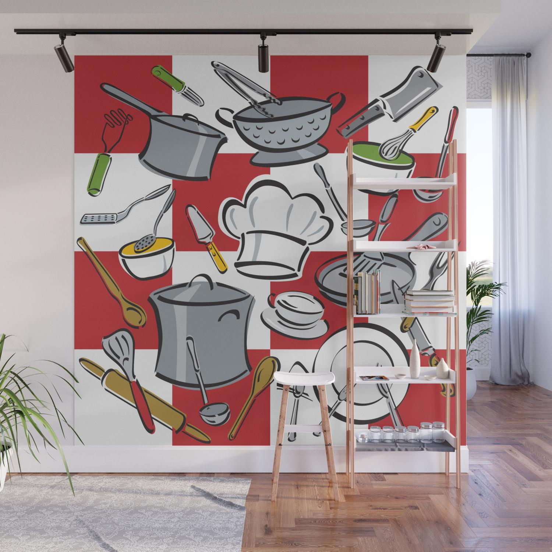 Kitchen Tools Check Wall Mural By Lisann Society6