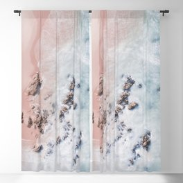 Sea Bliss - Minimal Aerial Pink Beach Ocean photography by Ingrid Beddoes Blackout Curtain