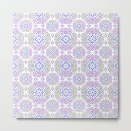 Delicate lace lilac and grey pattern . Metal Print