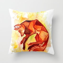 Angular maned wolf watercolor painting Throw Pillow