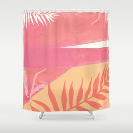 Pink Marble Palm Shower Curtain