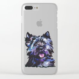 Fun Black Cairn Terrier bright colorful Pop Art Dog Portrait by LEA Clear iPhone Case