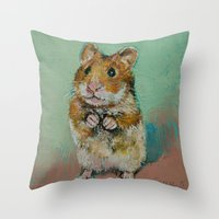 hamster Throw Pillows featuring Hamster by Michael Creese