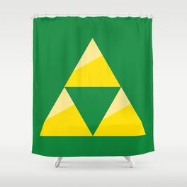 Zelda Triforce - Green and Gold Shower Curtain