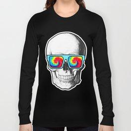 Psychadelic Skull Tiedye glasses Long Sleeve T-shirt