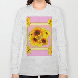 YELLOW SUNFLOWER BOUQUETS ON PINK Long Sleeve T-shirt