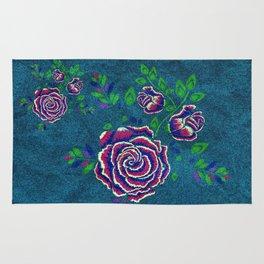 Purple embroidered rose Rug