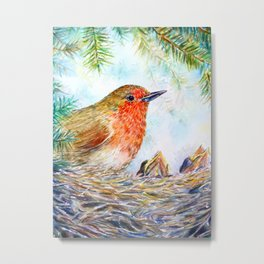 Watercolor Robin and Chicks Metal Print