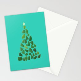Green Sea Glass Tree on Turquoise #seaglass #Christmas Stationery Cards