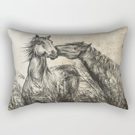 Kiss_Charcoal drawing vintage paper Rectangular Pillow
