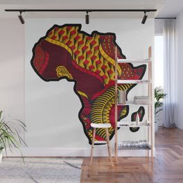 Red and Gold Africa Map Wall Mural