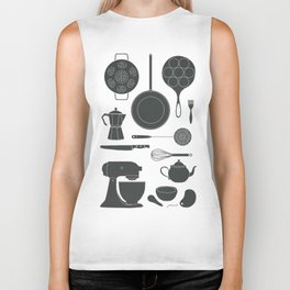 Kitchen Tools (black on white) Biker Tank