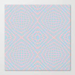 geometric, pink on blue Canvas Print