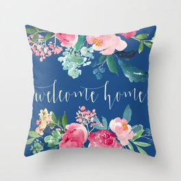 Welcome Home Blue and Pink Floral Throw Pillow