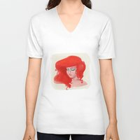 little mermaid V-neck T-shirts featuring Little Mermaid by Lucile MacBernik