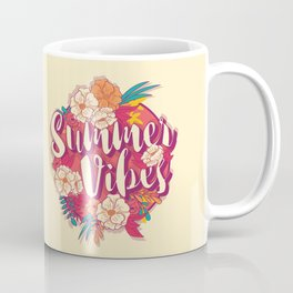 Summer vibes typography banner round design in tropical flower frame 001 Coffee Mug