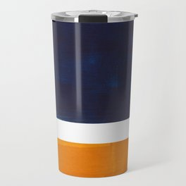 Navy Blue Yellow Ochre Abstract Minimalist Rothko Colorful Mid Century Color Block Pattern Travel Mug