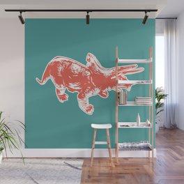Dino Pop Art - Triceratops - Teal & Dark Orange Wall Mural