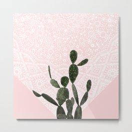 Cactus on Pink and Persian Mosaic Wall Metal Print