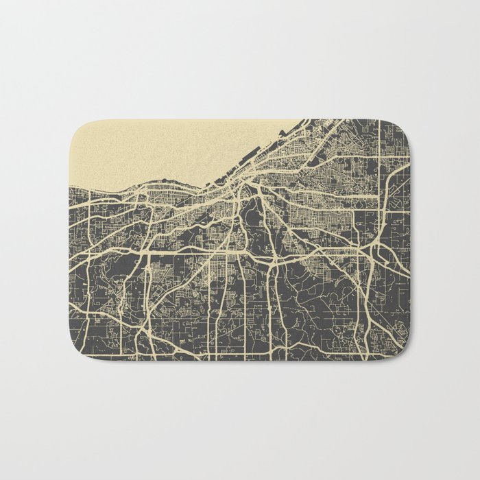 Cleveland map Bath Mat