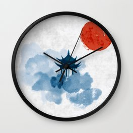Blue pagoda temple, red sun and forest trees. Traditional oriental ink painting sumi-e, u-sin, go-hu Wall Clock