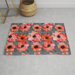 Watercolor poppies on gray background Rug