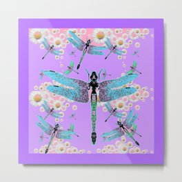 DELICATE BLUE DRAGONFLIES LILAC DAISY FLOWERS ART Metal Print
