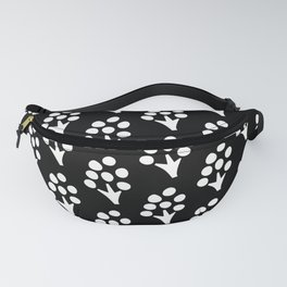 Abstract Scandinavian Floral on Black Background Fanny Pack