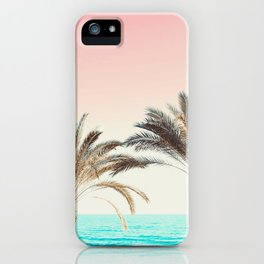 Modern California Vibes pink sky blue seascape tropical palm tree beach photography iPhone Case