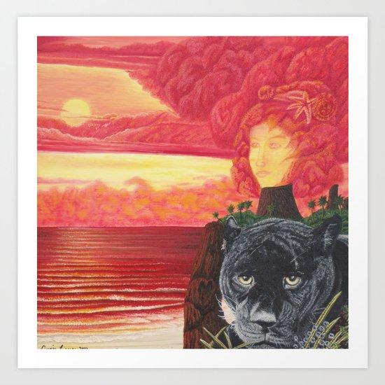 L'amour en éruption Art Print
