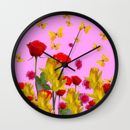 DECORATIVE YELLOW BUTTERFLIES, RED ROSES, DAFFODILS SPRING FLOWERS Wall Clock