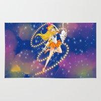 sailor venus Area & Throw Rugs featuring Sailor Venus  by Moonsia
