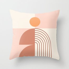 Geometric Shapes in Neutral Brown Shades (Sun and Rainbow Abstraction) Throw Pillow