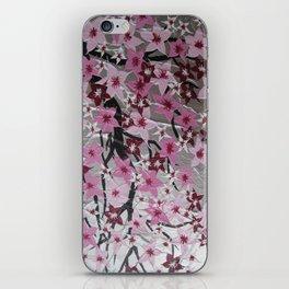 pink cherry blossom blossoms sakura girls nursery art pretty pinks white grey gray silver flowers iPhone Skin