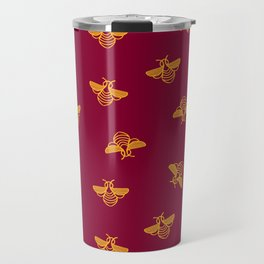 Gold yellow bee in red background Travel Mug