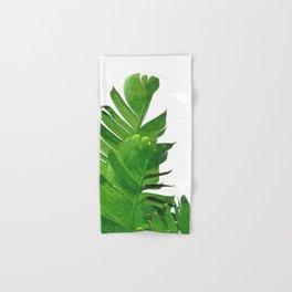 Palm banana leaves tropical watercolor illustration Hand & Bath Towel