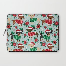 Dachshund christmas sweater florals poinsettia holiday red and white santa hat for dog lover Laptop Sleeve