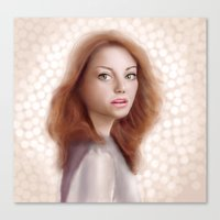 emma stone Canvas Prints featuring Emma Stone by Jessica Guetta