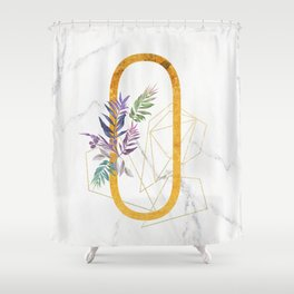 Modern glamorous personalized gold initial letter O, Custom initial name monogram gold alphabet prin Shower Curtain