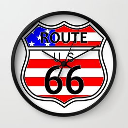 Route 66 Highway Sign With Flag Wall Clock
