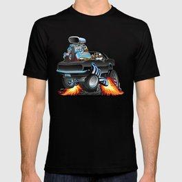 Classic Sixties American Muscle Car Popping a Wheelie Cartoon Illustration T-shirt