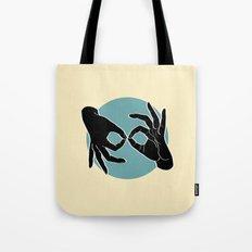 Sign Language (ASL) Interpreter – Black on Turquoise 04 Tote Bag