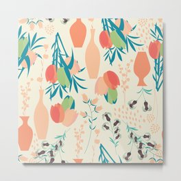 Spring flower pattern, tulips and lilies, 006 Metal Print